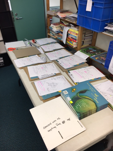 The assembly line pop-up mail room in the staffroom at The Children's Bookshop, Kilbirnie, Wellington.
